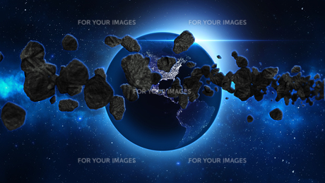 Planet Earth with asteroid in universe or space, Globe and galaxy in a nebula cloud with meteorsの写真素材 [FYI00658593]