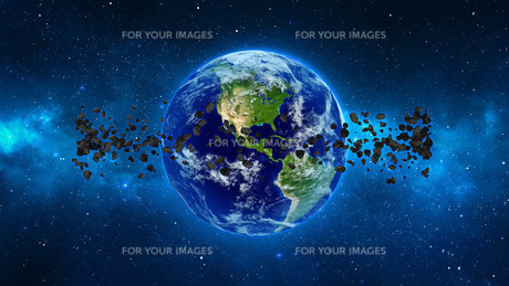 Planet Earth with asteroid in universe or space, Globe and galaxy in a nebula cloud with meteorsの写真素材 [FYI00658594]