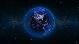 Planet Earth with asteroid in universe or space, Globe and galaxy in a nebula cloud with meteorsの写真素材 [FYI00658595]