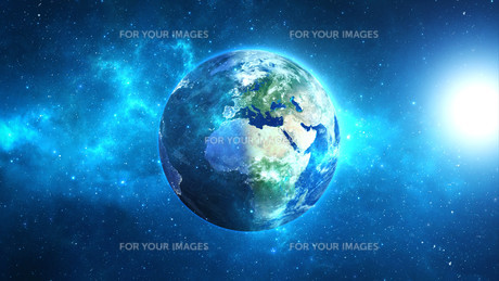 Planet Earth with sun in universe or space, Earth and galaxy in a nebula cloudsの写真素材 [FYI00658597]