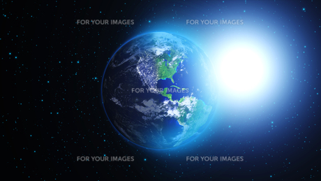 planet earth with sun in universe or space,earth and galaxy in a nebula cloudsの写真素材 [FYI00658598]