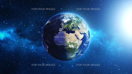 Planet Earth with sun in universe or space, Earth and galaxy in a nebula cloudsの写真素材 [FYI00658599]