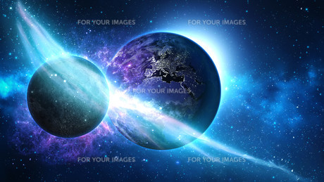 Planet Earth with sun in universe or space, Earth and galaxy in a nebula cloudsの写真素材 [FYI00658600]