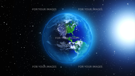 planet earth with sun in universe or space,earth and galaxy in a nebula cloudsの写真素材 [FYI00658601]