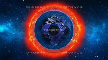 Planet Earth with sun in universe or space, Earth and galaxy in a nebula cloudsの写真素材 [FYI00658602]