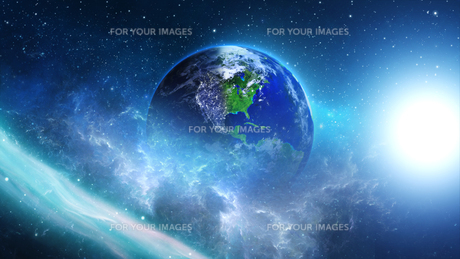 planet earth with the sun in universe or space,earth and galaxy in a nebula cloudsの写真素材 [FYI00658603]