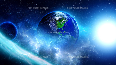 planet earth with sun in universe or space,earth and galaxy in a nebula cloudsの写真素材 [FYI00658604]