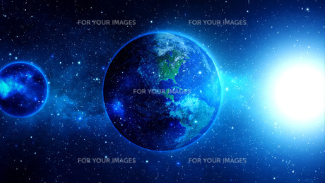 planet earth with sun in universe or space,earth and galaxy in a nebula cloudsの写真素材 [FYI00658605]