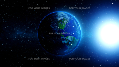 planet earth with sun in universe or space,earth and galaxy in a nebula cloudsの写真素材 [FYI00658606]