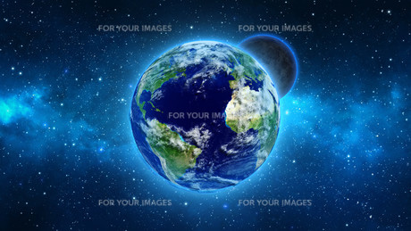 Planet Earth with sun in universe or space, Earth and galaxy in a nebula cloudsの写真素材 [FYI00658607]