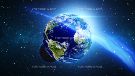 Planet Earth with sun in universe or space, Earth and galaxy in a nebula cloudsの写真素材 [FYI00658609]