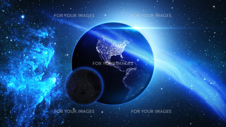 Planet Earth with sun in universe or space, Earth and galaxy in a nebula cloudsの写真素材 [FYI00658610]