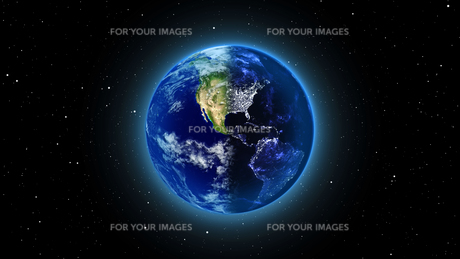 Planet Earth with sun in universe or space, Earth and galaxy in a nebula cloudsの写真素材 [FYI00658612]