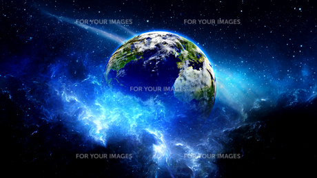 Planet Earth with sun in universe or space, Earth and galaxy in a nebula cloudsの写真素材 [FYI00658613]