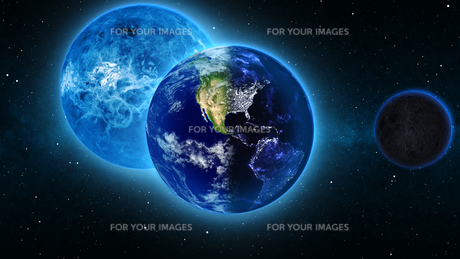 Planet Earth with sun in universe or space, Earth and galaxy in a nebula cloudsの写真素材 [FYI00658614]