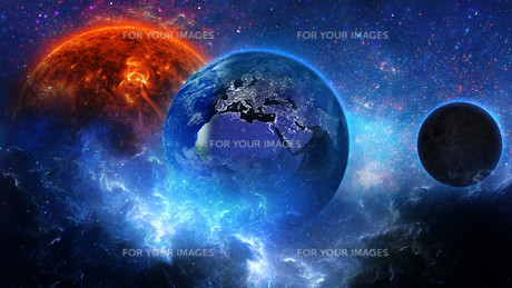 Planet Earth with sun in universe or space, Earth and galaxy in a nebula cloudsの写真素材 [FYI00658615]