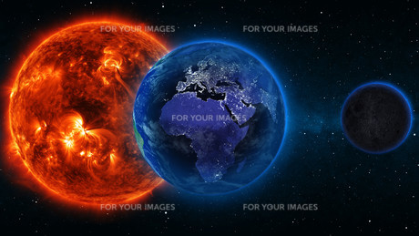 Planet Earth with sun in universe or space, Earth and galaxy in a nebula cloudsの写真素材 [FYI00658616]
