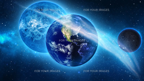 Planet Earth with sun in universe or space, Earth and galaxy in a nebula cloudsの写真素材 [FYI00658618]