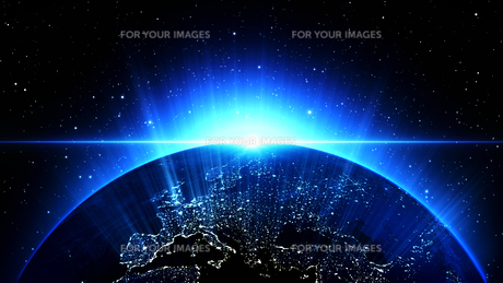 Planet Earth with sun in universe or space, Earth and galaxy in a nebula cloudsの写真素材 [FYI00658628]