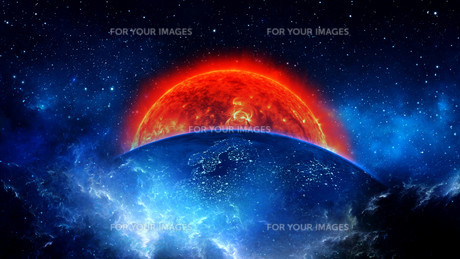 Planet Earth with sun in universe or space, Earth and galaxy in a nebula cloudsの写真素材 [FYI00658629]