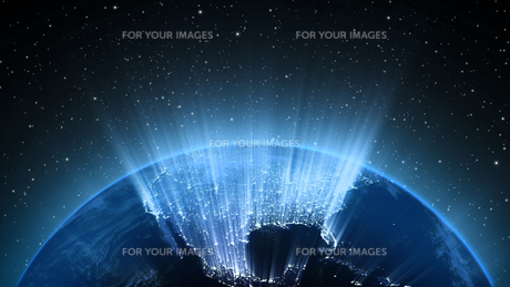 Planet Earth with sun in universe or space, Earth and galaxy in a nebula cloudsの写真素材 [FYI00658635]
