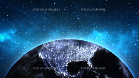 Planet Earth with sun in universe or space, Earth and galaxy in a nebula cloudsの写真素材 [FYI00658637]