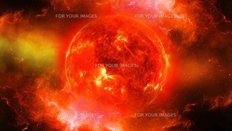 Sun in universe or space, sun and galaxy in a nebula cloudの写真素材 [FYI00658638]
