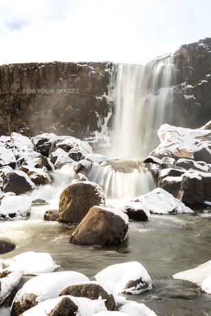 pingvellir Waterfall Icelandの写真素材 [FYI00658727]