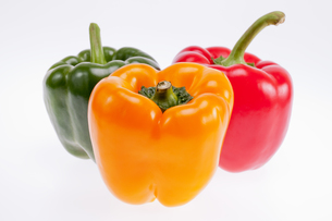 colorful peppers isolated on white backgroundの写真素材 [FYI00659096]