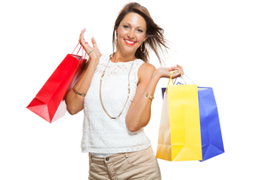 young stylish woman with colorful shopping bags schlussverkauf saleの写真素材 [FYI00659119]