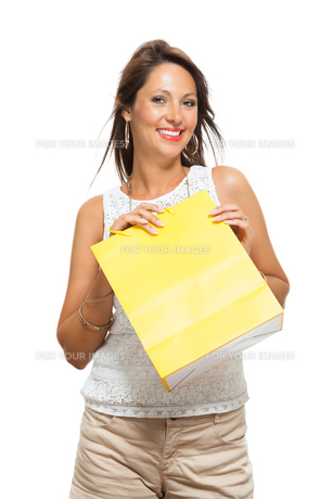 young stylish woman with colorful shopping bags sale saleの写真素材 [FYI00659121]
