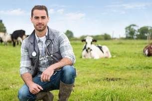 Portrait of a Young attractive veterinary in a pasture with cowsの写真素材 [FYI00659548]