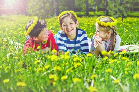 Children on lawnの写真素材 [FYI00659747]