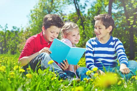 Friends on lawnの写真素材 [FYI00659749]