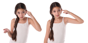 Collage of a young girl doing the crazy sign. Isolatedの写真素材 [FYI00659938]