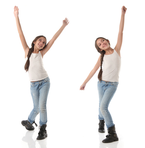 Collage of a lovely young girl doing a happy dance.の写真素材 [FYI00659946]
