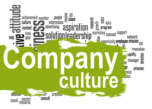 Company culture word cloud with green bannerの素材 [FYI00659956]