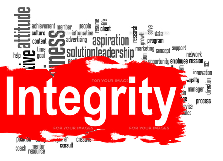Integrity word cloud with red bannerの素材 [FYI00659957]