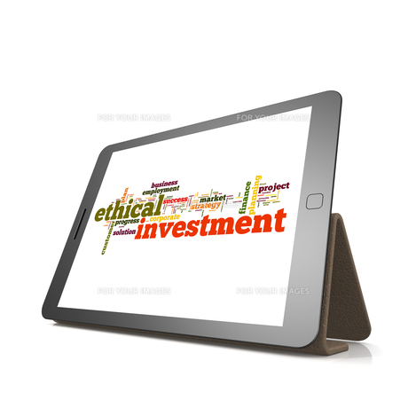 Ethical investmentword cloud on tabletの素材 [FYI00659958]