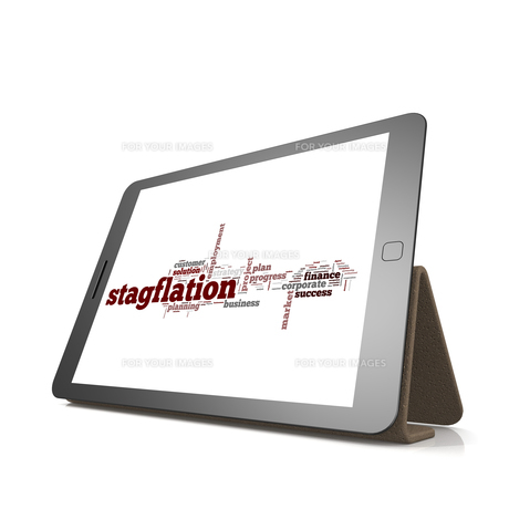 Stagflation word cloud on tabletの素材 [FYI00659959]