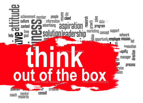 Think out of the box word cloud with red bannerの素材 [FYI00659962]