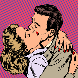 Passion man woman embrace love relationship style pop art retroの写真素材 [FYI00660298]