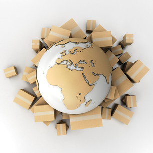 Earth and boxes in cardboard textureの写真素材 [FYI00660657]