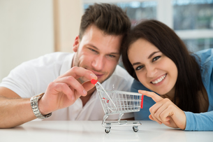 Smiling Couple With Miniature Shopping Cartの写真素材 [FYI00661071]