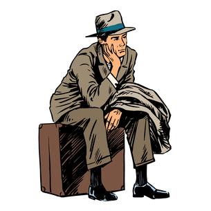 Male passenger waiting travel trip style retroの写真素材 [FYI00661189]