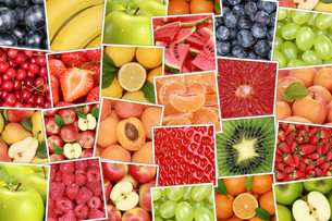 vegan and vegetarian fruits and fruit background with apple,orange,strawberryの写真素材 [FYI00661528]