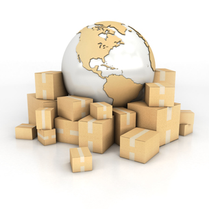Earth and boxes in cardboard textureの写真素材 [FYI00661945]