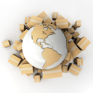 Earth and boxes in cardboard textureの写真素材 [FYI00661946]