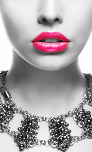 Emphasis. Black & White Woman's Face with Pink Lipsの写真素材 [FYI00661960]