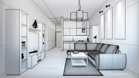 3D interior rendering of a small loft without texturesの素材 [FYI00662010]